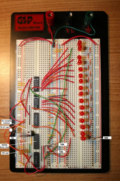Knight Rider Style chaser lights, using basic logic chips.